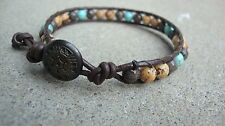 Men's Multi Gemstone 6mm Beaded Bracelet Brown Leather Wrap Bracelet