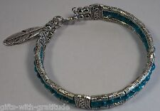 Tribal Bracelet Bangle Womens Gift Blue Bead Silver Tone Feather 60mm