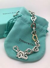Beautiful Tiffany & Co 18K Gold & Sterling Silver Heart Links Bracelet Authentic