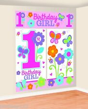 1st Birthday Girl Scene Setter Party Wall Scene Decorations Pink Baby Banners