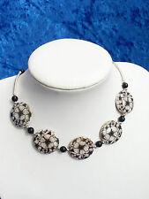 Damen Halskette Perlmutt Blumendruck Rund Onyx schwarz/ weiß 43 cm silber NEU