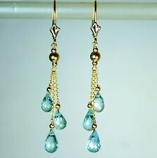14k solid yellow gold 7x5mm briolette natural  Blue Topaz earrings leverback