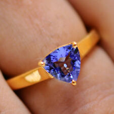 Trillion Cut Solid 14KT Yellow Gold 1.00Ct Solitaire Natural Blue Tanzanite Ring