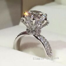 Handmade Women Flower Style 2ct White Sapphire 925 silver Wedding Band Ring 6/L