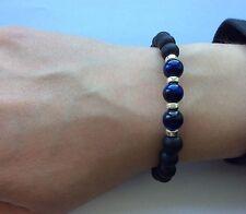 Beaded Gemstone Bracelet 925 Sterling Silver Blue Tigers Eye & Matte Onyx