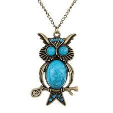 Antique Brass Owl Design Blue Turquoise Women Long Pendant Necklace Jewelry