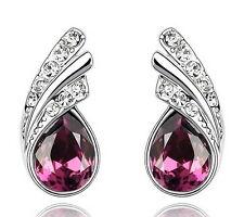 White Gold Filled Purple Amethyst Swarovski Crystal Teardrop Stud Earring IE105