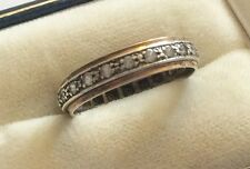 Lovely Ladies Early Vintage 9ct Gold & Silver White Stone Eternity Band Ring
