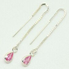 925 Sterling Silver - Pull Through Earrings with Pink Tear CZ Stone