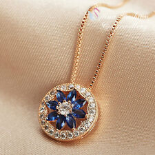 18K Rose Gold Plated Swarovski Crystal Round Shaped Sapphire Flower Necklace