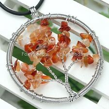 1Pc 47mm Red Agate Carnelian Chip Bead Life Tree Pendant for Necklace DIY Gift