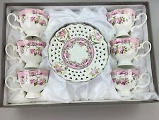 Tea/Coffee Cups & Saucers Set of 12 Pieces Bone China Pink White