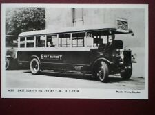 POSTCARD RP EAST SURREY BUS NO 192 AT T.W. 1928