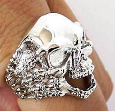SKULL HAND BONE CLAW SILVER PLATED BRASS MENS RING 13.5