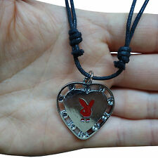 Red Play Boy Bunny Rabbit Head Bow Pendant Chain Necklace Jewellery Silver Metal