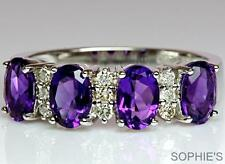 Natural Amethyst & Diamond Victorian Style Engagement Ring 18K White Gold Size V