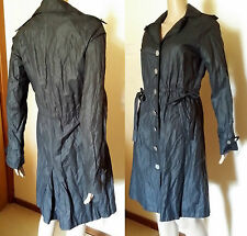 LAURA ASHLEY Size 8 Black/Charcoal Trench Style Crushed Fabric Jacket