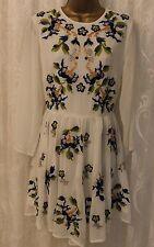 ASOS Floral Embroidery Long Sleeve Skater Flare Shift Wedding Party Dress 14 42