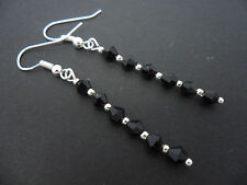 A PAIR OF BLACK CRYSTAL GLASS BEAD  SILVER  PLATED DROP  EARRINGS. NEW.