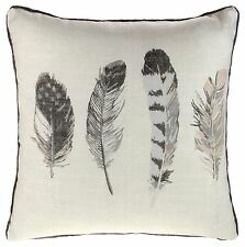 "IDAHO FEATHER PRINTED CUSHION COVER 17"" x 17"" CHARCOAL GREY"