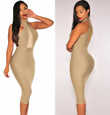HALTER HIGH NECK V PLUNGE MESH NUDE MIDI DRESS COCKTAIL PARTY PROM UK6,8,10