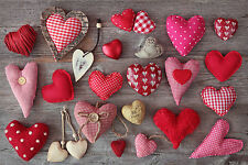 STUNNING SHABBY CHIC STYLE MATERIAL HEARTS #788 CANVAS PICTURE WALL ART A1