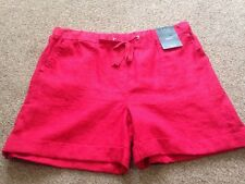 M&S  Women Red 100% Linen Shorts Holiday Beach BNWT Size 16 Free Sameday Postage