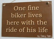 One Fine Biker Motorcycles Sign - Shed Bar Garage Man Cave Wooden BBQ Moto GP