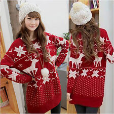 Fashion Women Girls Christmas Reindeer Snowflake Loose Knitted Sweater Jumpers
