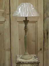 Shabby Chic Grey Washed Candlestick Table Lamp Light With Linen Shade