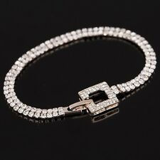ROSE GOLD PLATED  MADE WITH SWAROVSKI CRYSTALS BUCKLE TENNIS CHAIN BRACELET XMAS