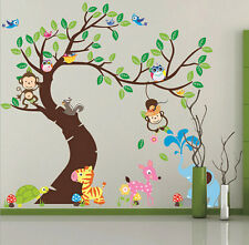 animals tree monkey owl removable wall decal sticker kid baby nursery room decor