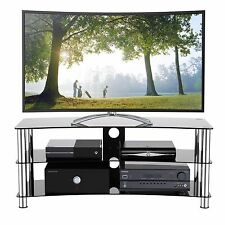 """Black Gloss Glass TV Stands Arc Cabinet Chrome Leg 120cm for 32""""-70"""" Television"""