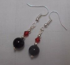 Unique handmade black onyx earrings silver plated round beads crystals +stoppers