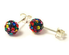 Sterling Silver 5mm Multi-Colour Shamballa Crystal Ball Stud Earrings