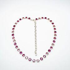 Damen Kette Collier Tennis 925 Versilbert mit Swarovski Kristallen Pink Rosa