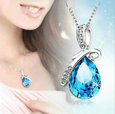 Women Crystal Rhinestone Pendant Necklace Silver Chain Fashion Jewelry Gift