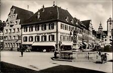 Bad Mergentheim alte Postkarte 1956 Marktplatz mit Burgstraße Brunnen Motorrad