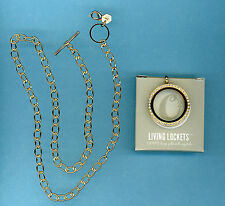 AUTHENTIC ORIGAMI OWL LARGE GOLD LOCKET CRYSTALS LK1015 AND TOGGLE CHAIN NEW