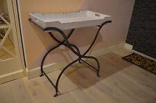 Industrie Style Tabletttisch Holz Shabby Chic Vintage Loft Weiß Rost Landhaus