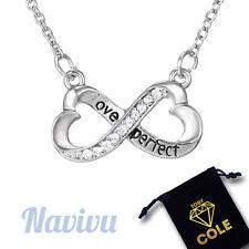 Halskette mit Infinity Herz Anhänger und Strass Zirkonia Kristall Unendliche Lie