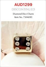 Pandora Retired 14k Yellow Gold Diamond Dice Charm, 750469D.