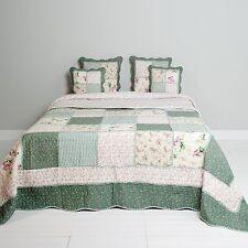 Tagesdecke 100 % Baumwolle Quilt Bettüberwurf 230x260cm Patchwork grün/beige