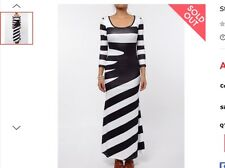 Stylish Scoop Neck 3/4 Sleeve Striped Women's Maxi Dress Size M AU10