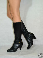 Women Black High Knee Boots Zipped Chain Comfort Real Leather Bronx Size 6