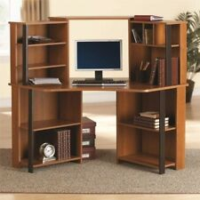 corner computer desk office workstation hutch shelves bookcase cherry wood cherry office furniture