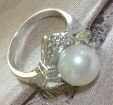 18k ct White Gold Filled Ring with Pearl - Size 5