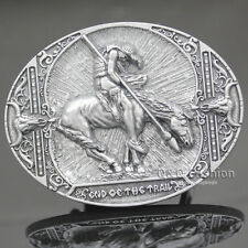 Silver End of the Trail American Indian Horse Buffalo Skull Rodeo Belt Buckle