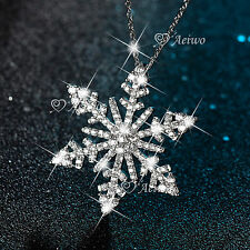 18K WHITE GOLD GF GENUINE SWAROVSKI CRYSTAL PENDANT SNOWFLAKE NECKLACE