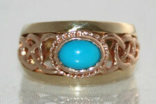 LARGE Early Clogau Welsh 9ct Yellow & Rose Gold Turquoise Celtic Ring  M US 61/4